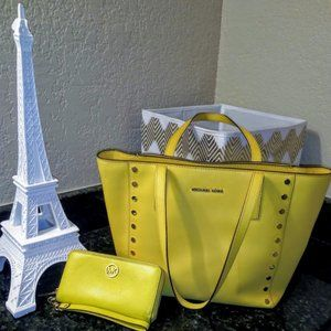 Authentic Yellow Michael Kors Bag and Wallet